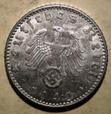 D.365 GERMANIA WWII AL III-LEA REICH 50 REICHSPFENNIG 1943 D, Europa, Aluminiu