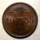 E.292 GERMANIA REICH 1 REICHSPFENNIG 1933 A XF, Europa, Bronz