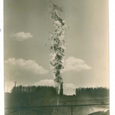294 - Prahova, CAMPINA, Fire at oil wells - old postcard, real Photo - unused, Necirculata, Fotografie
