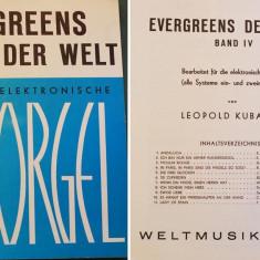 Partitura muzica pentru orga, Evergreens der Welt fur die Elektronische Orgel, volumul IV, in germana, 11 piese