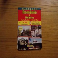 ROMANIA * MOLDOVA  -- Harta Rutiera * 1: 75000  -- 2004