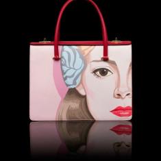 Geanta Prada saffiano print shoulder bag - Geanta Dama Prada, Culoare: Rosu, Marime: One size, Geanta umar manere scurte, Piele