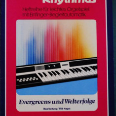 Partitura muzica / Manual pentru orga electronica, Melodie & Rhythmus, caietul 7, in germana (autor Willi Nagel), 10 cantece celebre /evergreen