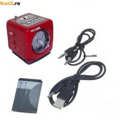 BOXA PORTABILA CU RADIO MP3 SLOT USB SI CARD SD +adaptor usb Culoare ROSU
