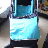Carucior 2 in 1 Babycare - Carucior copii 2 in 1 Baby Care, 0-6 luni, Pliabil, Albastru, Maner reversibil