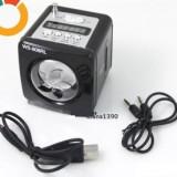 BOXA PORTABILA NEAGRA CU RADIO MP3 Player SLOT USB SI CARD SD + adaptor usb