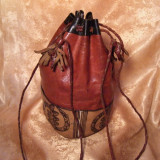 Geanta sac piele, artizanala, vintage, Geanta saculet, Din imagine