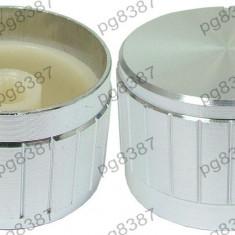 Buton metalic (aluminiu), argintiu, 26 mm - 127507