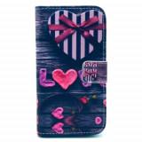 Husa toc flip loc pentru carduri Iphone 5 + folie protectie ecran fata, iPhone 5/5S/SE, Albastru, Piele Ecologica, Apple