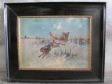 Scena de vanatoare cu iepure si vulpe , pictura veche pe panza