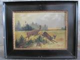 Scena de vanatoare - caprioare , pictura veche pe panza