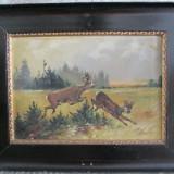 Scena de vanatoare - caprioare, pictura veche pe panza - Pictor roman