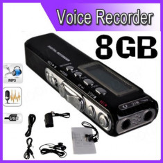 Reportofon Digital 8GB, 850 ORE inregistrare, Activare Vocala,Garantie