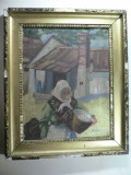 TABLOU VECHI - PICTOR MAGHIAR - ULEI PE PANZA - SEMNAT DREAPTA JOS BOROS 1929, Peisaje, Impresionism