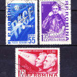 Timbre ROMANIA 1961/* 523 = AL 2- lea OM IN COSMOS, SERIE COMPLETA 3 V.
