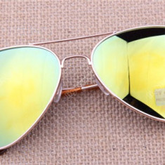 Ochelari soare unisex model Aviator, Pilot, Metal, Protectie UV 100%, Polarizate