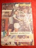 Program Fotbal -Meciul Sportul Studentesc - Rapid Bucuresti , aug. 1988