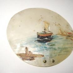 Picturi pereche mici vechi LIEBEHART B-Corabie intrand in port-ulei/ sidef., Marine, Realism