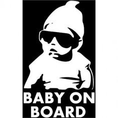 Sticker Autocolant Decorare Auto Baby On Board. Alb