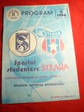 Program Fotbal Meciul Sportul Studentesc- Steaua, aprilie 1986
