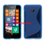 Husa silicon Nokia Lumia 630 + folie protectie ecran, Albastru