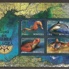 SD Romania 2007 LP1755a- Fauna din Marea Neagra, 4 val. in bloc de 4, MNH