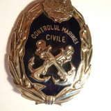 Insigna- Controlul Marinei Civile RSR - metal si email, h= 6, 1 cm