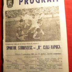 Program -Meci Fotbal -Sportul Studentesc- U.Cluj-Napoca 1987