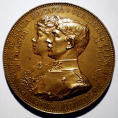 5.055 ROMANIA MEDALIE LOGODNA FERDINAND SI MARIA 1892 SCHARFF 50 mm - Medalii Romania