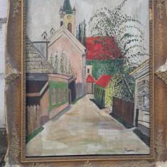 pictura in ulei  pe pinza , legata de bistrita centrul vechi reducere