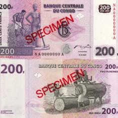 SPECIMEN CONGO 200 francs 2007 UNC!!! - bancnota africa