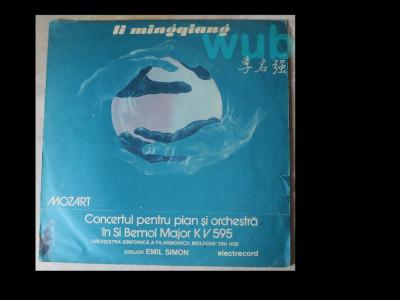 Li Mingqiang si Orchestra Filarmonicii din Iasi, dirijor Emil Savin, Mozart, Concertul pt pian si orchestra in Si Bemol Major KV 595; disc vinil/vinyl foto