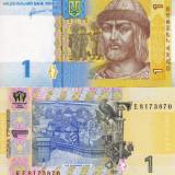 UCRAINA 1 grivna 2011 UNC!!! - bancnota europa