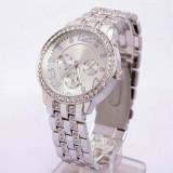 Ceas dama Geneva argintiu curea metalica cristale + cutie simpla cadou, Quartz, Otel, Analog