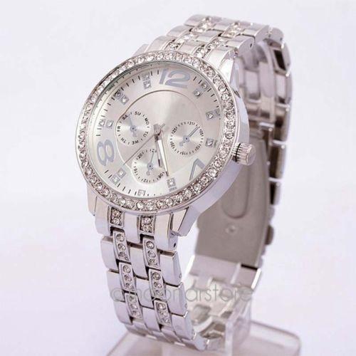Ceas dama Geneva argintiu curea metalica cristale + cutie simpla cadou foto mare