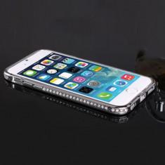 Bumper argintiu cu cristale din metal pentru iphone 6 + plus  5,5' si cablu date cu folie protectie ecran