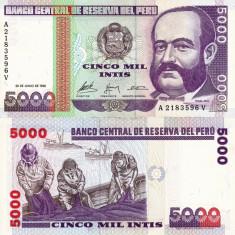 PERU 5.000 intis 1988 UNC!!!