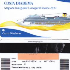 Card plastic intrare cabina Costa Diadema, cursa inaugurala 1-7 Nov 2014 - lot colectie