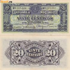 MOZAMBIC 20 centavos 1933 AUNC!!! - bancnota africa