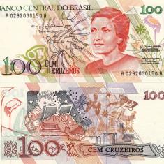 BRAZILIA 100 cruzeiros ND 1990 P-228 UNC!!! - bancnota america