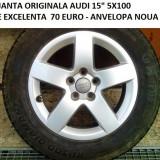 1BUC JANTA ORIGINALA AUDI A3 15 5X100 STARE PERFECTA - Janta aliaj Audi, 6, 5, Numar prezoane: 5