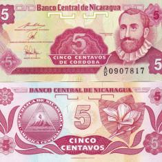 NICARAGUA 5 centavos 1991 UNC!!! - bancnota america