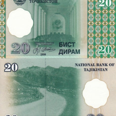 TADJIKISTAN 20 diram 1999 UNC!!! - bancnota asia