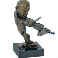VIOLONIST - STATUETA DIN BRONZ PE SOCLU DIN MARMURA - Sculptura