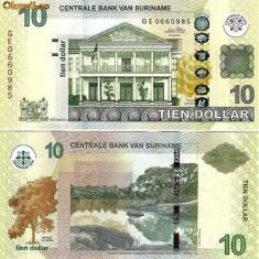 SURINAME 10 dollars 2010 UNC!!! - bancnota america