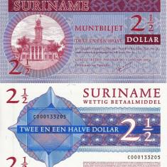 SURINAME 2 1/2 dollar 2004 UNC!!! - bancnota america