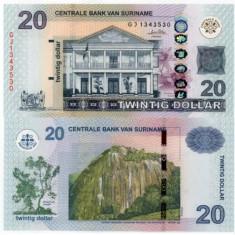 SURINAME 20 dollars 2010 UNC!!! - bancnota america