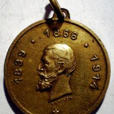5.182 MEDALIE ROMANIA CAROL I 1839 1866 1914 SPRE AMINTIRE RADIVON 21mm - Medalii Romania