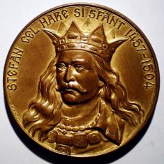 5.175 MEDALIE ROMANIA SNR STEFAN CEL MARE SI SFANT 1457-1504 1904 51mm - Medalii Romania