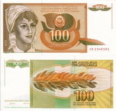 IUGOSLAVIA 100 dinara 1990 UNC!!! foto